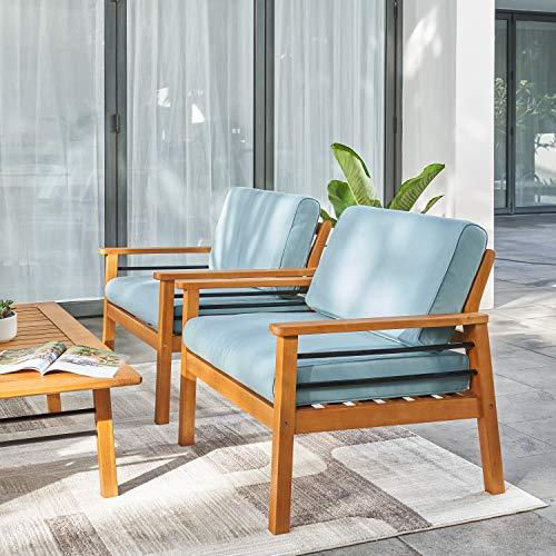 VIFAH Gloucester Contemporary Patio Sofa Club Chair, Golden Oak Wood Color