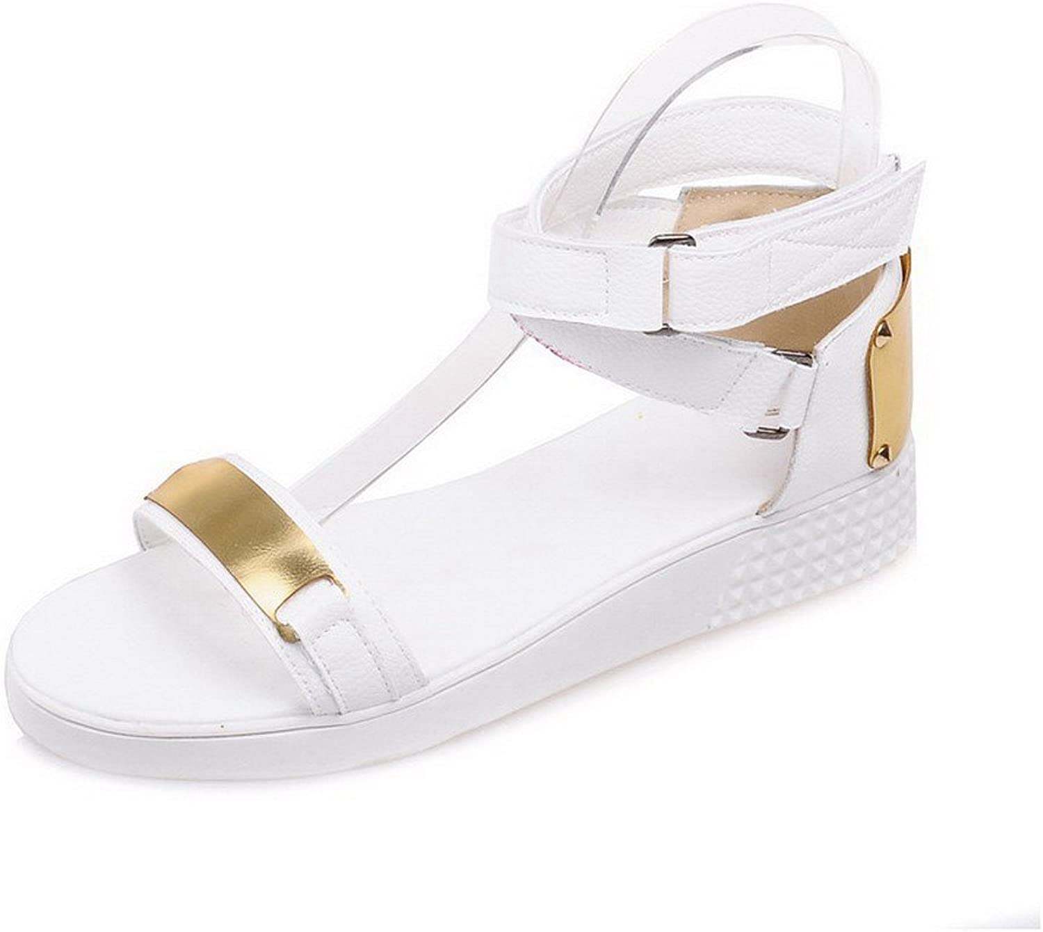 AmoonyFashion Women's Soft Material Hook-and-Loop Open Toe Low-Heels Solid Wedges-Sandals