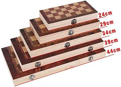 JWGD New Design 3 in 1 Houten Schaken Backgammon Dammen Reizen Spellen Schaak Board (Color : XL 39 x 39cm) M 29 x 29cm