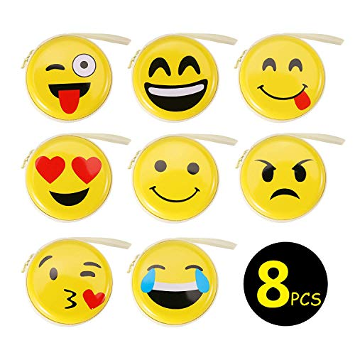 Interesante Niños Juguetes Educación, 8pcs Emoji Monedero Monedero, Mini linda sonrisa Emoji Monedero caja de hierro con cierre de cremallera y Asa for monedas / Headset / píldora / regalos de los niñ