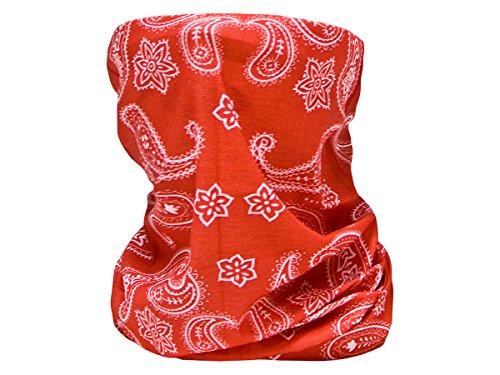 Trendmaus Multifunktionstuch Schlauchtuch Halstuch Multischal Multiscarf alle Farben, wählen:rot weiß paisley13