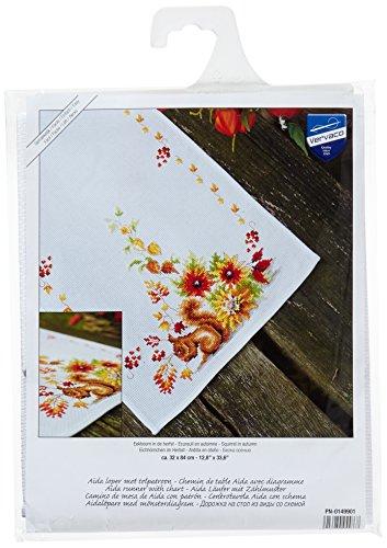 Vervaco Kreuzstichpackung Tischläufer Kreuzstich zum Auszählen, Baumwolle, weiß, 32 x 84 x 0,3 cm