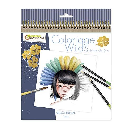 Avenue Mandarine - Ausmalbuch Wild 5 Emmanuelle Colin - 28 Seiten zum Ausmalen - Clairefontaine Papier PEFC- zertifiziert - für Buntstifte, Filzstifte oder Aquarellfarben - GY120C
