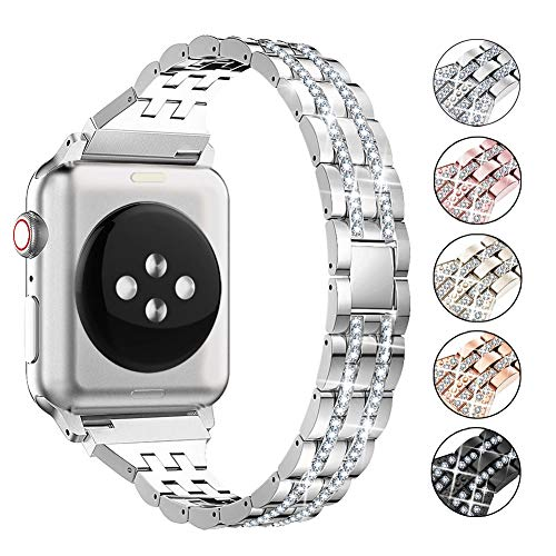 Supoix Compatible with Apple Watch Band 42mm 44mm 38mm 40mm, Women Jewelry Bling Diamond Rhinestone Replacement Metal Wristband Strap for iWatch Series 5/4/3/2/1(Silver)