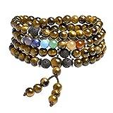 CrystalTears 108 Perlen Mala Kette 6mm Stein Wickelarmband Chakra Armband Healing Reiki Edelstein Yoga Armreif Buddha Gebetskette Halskette (Gelb Tigeruage)