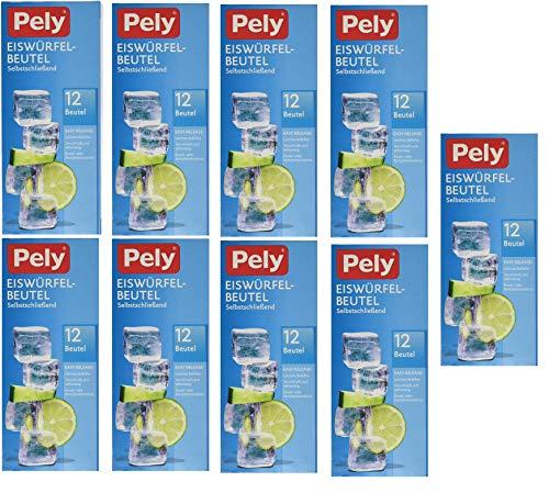 108 pely Eiswürfel-Beutel, selbstschließend, 12 Beutel je Packung, 9 Packungen im Karton, weiß, verschließt sich selbsttätig, klimaneutral produziert
