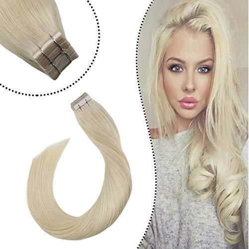 [5% Rabatt für Heißen Sommer] Ugeat Remi Echthaar Extensions Tape in Haarverlangerung Platinblond #60 14zoll Brasilianische Haare Tape Tressen Glue in Skin Weft 50 Gramm 20Stucke/Paket