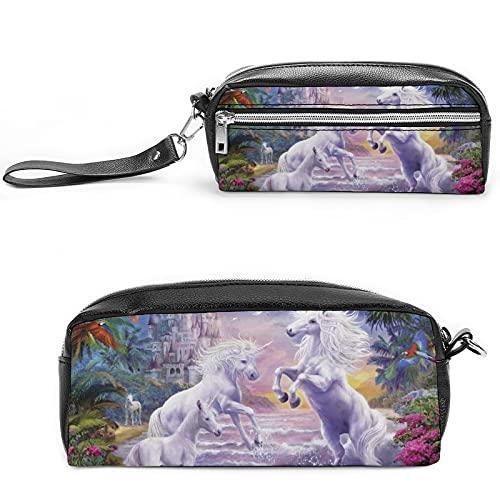 Bolsa de cosméticos de viaje grande con diseño de unicornio, color blanco, Negro-estilo-15, 20*10*5.5cm,