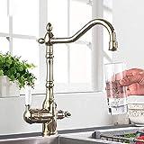 Grifo de oro filtro de agua dos manija grifo de la cocina agua potable 3 en 1 latón giratorio fregadero grifo