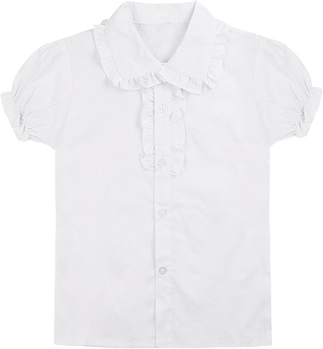 Freebily Teens Boys Girls White Long/Short Sleeve School Uniform Shirt Tops Spread Collar Blouse