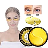 Under Eye Patches, JUYOU 24K Gold Eye Mask, Eye Gel Pads Collagen Eye Treatment Masks Reduces Wrinkles and Puffiness Lighten Dark Circles Moisturizing and Anti Aging, 60 Pieces