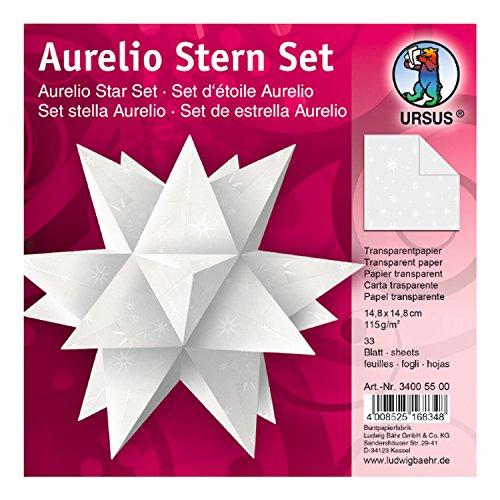 Ursus 34005500 - Faltblätter Aurelio Stern, Transparentpapier, 14,8 x 14,8 cm, White Line Sterne