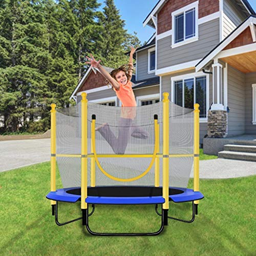 Mini Trampoline For Kids,55In Heavy Duty Steel Trampolines Thickened Column Foam With Safety Net Enclosure ,3-6 Years Old