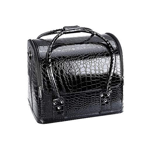 PN-Braes Cas cosmétique Professionnel Beauté Make Up Case Nail Cosmetic Box Sac Vanity Case Organisateur Motif De Crocodile Boîte De Rangement Cosmétique Stockage de Maquillage (Color : Black)