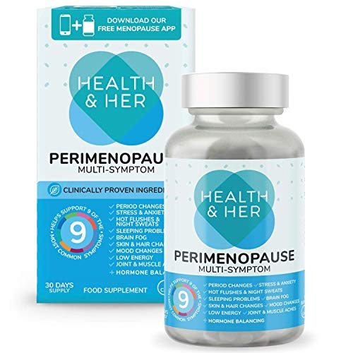 Health & Her Perimenopause Supplements for Women - Support for Perimenopause Symptoms - 1 Month Supply of 60 Perimenopause Tablets - Vegan - Gluten Free - Non-GMO