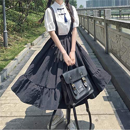 Yunbai Lolita Vestido Japonés Escuela Chica Traje Elegante Jumpsuit Vestido Mujer Ropa Kawaii Harajuku Princess Sweet Lolita Big Swing Preppy Style (Color : Black, Size : Small)