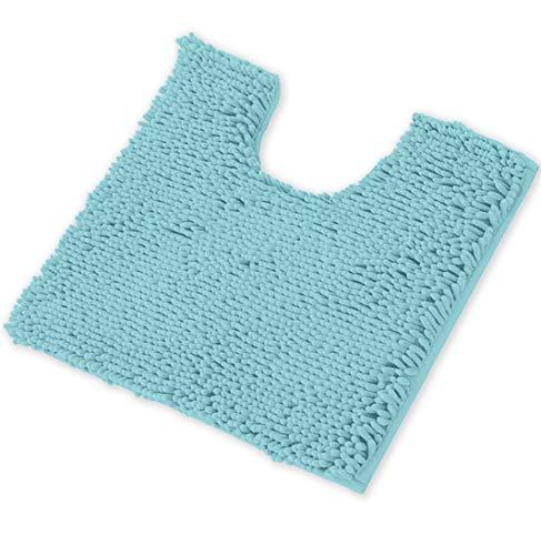 LuxUrux Bath Mat-Extra-Soft Plush Bath Shower Bathroom Rug,1'' Chenille Microfiber Material, Super Absorbent Shaggy Bath Rug. Machine Wash & Dry (20 x 20, Spa Blue)
