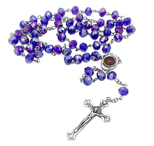 Nazareth Store Rosario de cuentas de cristal azul católico collar de Jerusalén Medalla del suelo sagrado Cruz Tierra Santa Regalos religiosos Rosarios
