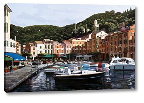 """Sunrise Over Portofino by Bill Saunders - 25"""" x 38"""" Canvas Art Print Gallery Wrapped - Ready to Hang"""