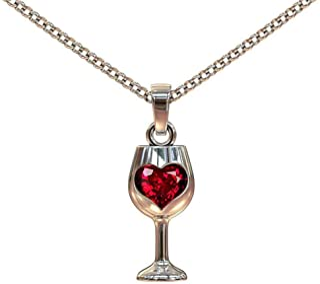 AILUOR Bottiglia di Vetro Vino Ciondolo Y Collana, Acciaio Amore Vino Acclamazioni Oro 18 '' Gioielli