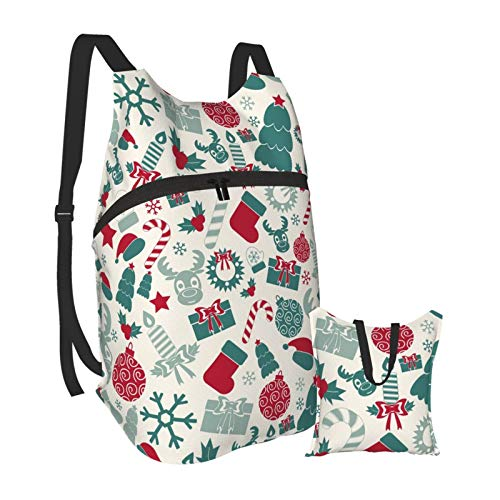 Grafffery Icons Celebrate Christmas Travel Hiking Backpack Daypack Laptop Backpack Lightweight Packable Foldable for Women and Men, College School