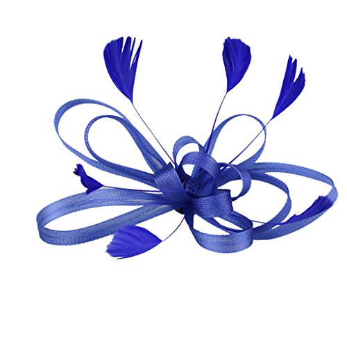 Broche Pince à Cheveux Plume Maille Accessoire Cadeau pour Mariage - Bleu Royal