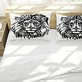 Juego de funda de edredón y 2 fundas de almohada, color blanco, león animal ultra suave, microfibra hipoalergénica con cierre de cremallera
