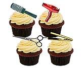 Decoración comestible de peluquería para tartas y cupcakes, Pack de 24