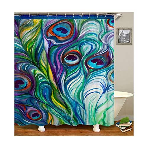 DOLOVE Duschvorhang Polyester Waschbar Duschvorhang 165X180 Abstrakte Malerei Vintage Bad Vorhang Anti-Schimmel