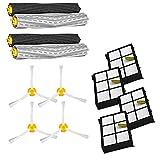 Simuke - Set de Recambio para iRobot Roomba 800 900 Serie 805 860 870 871 880 890 960 980 (Piezas de Repuesto con 2 extractores, 4 filtros, 4 cepillos Laterales)