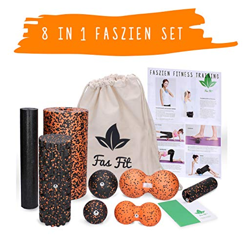 Fas Fit Faszienrolle - Foam Roller Set 8teilig - Massagerollen & Faszienbälle - Faszien Rolle für ein effektives Faszientraining – inkl. Poster, Übungsheft, E-Book und Turnbeutel (Orange - 8 in 1 Set)