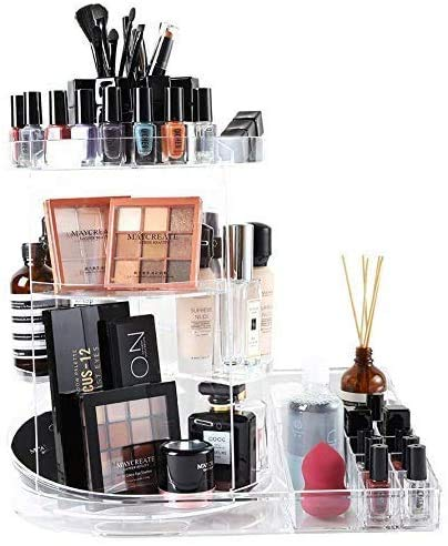 SUNFICON Rotating Makeup Organizer Detachable Makeup Storage Tray Large Cosmetic Holder 360 Spin Makeup Carousel Display Case Caddy Vanity Bathroom Countertop Birthday Christmas Gift Acrylic Clear