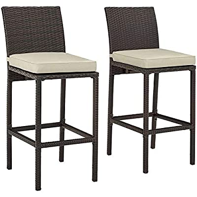 """Crosley Palm Harbor 28"""" Wicker Patio Bar Stool in Sand and Brown (Set of 2)"""