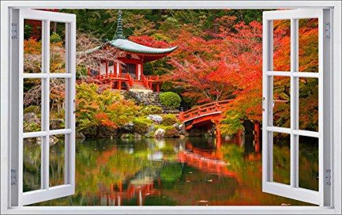 DesFoli Japan Garten 3D Look Wandtattoo 70 x 115 cm Wanddurchbruch Wandbild Sticker Aufkleber F533