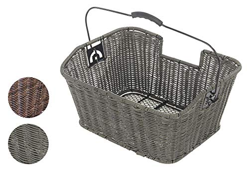 Büchel Fahrrad-Gepäckträgerkorb, Polyrattan, grau, 40504190