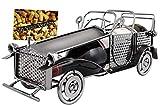 BRUBAKER Weinflaschenhalter Vintage Auto Oldtimer Flaschenständer Deko-Objekt Metall mit Grußkarte für Weingeschenk