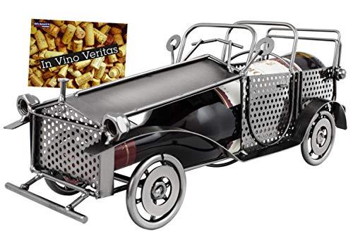 Brubaker Portabottiglie Vintage a forma di automobile, Oggetto decorativo in metallo con biglietto di auguri, per regalo a tema vino