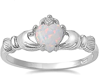 Sterling Silver Irish Claddagh Simulated Gemstone Promise Ring Available