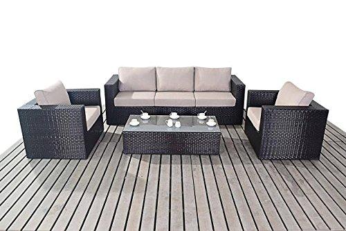 Moderno Grande Jardín de Ratán Conjunto de sofás, cojines de sofá de...