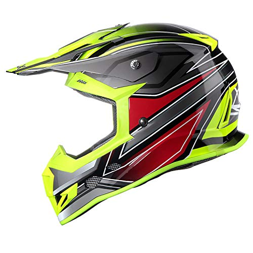 GLX Unisex-Adult GX23 Dirt Bike Off-Road Motocross ATV Motorcycle Helmet for Men Women, DOT Approved (Matte Black, Large)