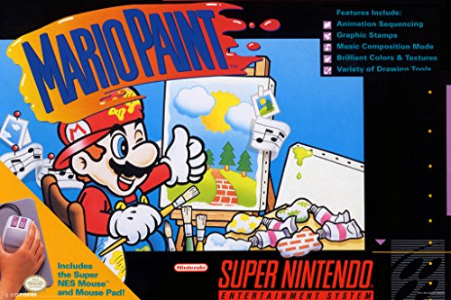 Pyramid America Mario Paint Super Nintendo NES SNES Game Series Box Art Yoshi Luigi Princess Print Cool Wall Decor Art Póster 30x46