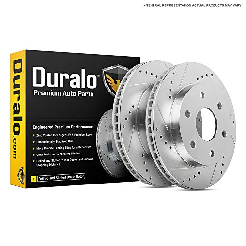 Duralo Drilled Slotted Rear Brake Disc Rotor Set For Chevy Silverado Tahoe Suburban GMC Sierra Yukon Cadillac Escalade - Duralo 152-1043 New
