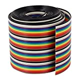 VIPMOON 1M 1.17mm 40PIN Cable de puente de cinta de arco iris flexible multicolor multicolor de Dupont Wire
