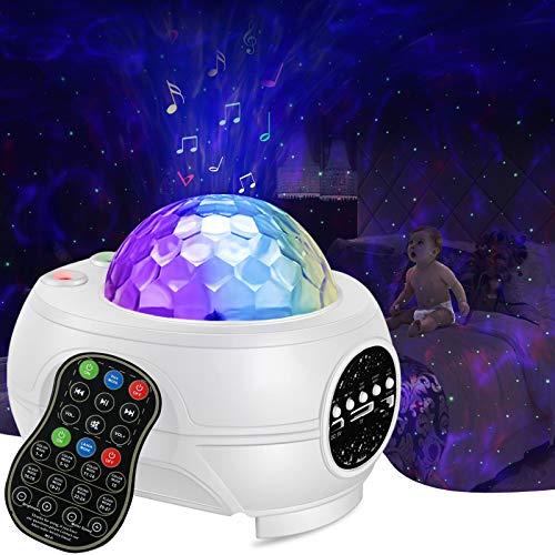 Proyector de luz de estrella, proyector de galaxia, con altavoz Bluetooth, mando a distancia, proyector de galaxia para recámara,...