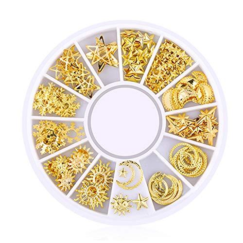 Snner 200 Count/Pack 3D Mini Nail Art Stickers Stud Glitter MéTal Fournitures DéCorations Ongles De Charme Pour Nail Art DIY (Starry Sky Series)
