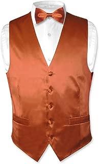 Biagio Men's Silk Dress Vest & Bow Tie Solid Burnt Orange Color Bowtie Set