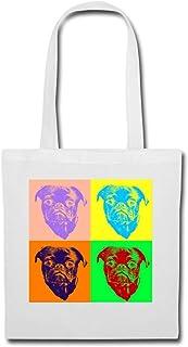 Spreadshirt Mops Hundekopf Pop Art Style Stoffbeutel
