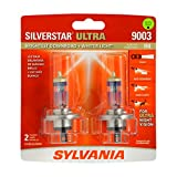 SYLVANIA 9003/H4 SilverStar Ultra Halogen Headlight Bulb, (Contains 2 Bulbs) (9003SU.BP2), White