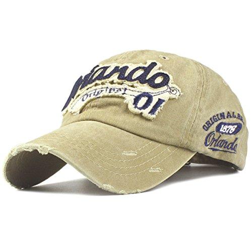 Sporty Baseballcap Orlando Original Vintage Style Used Washed Look Retro Outdoor Kappe Mütze Cap Schirmmütze Basecap verstellbar (Khaki)