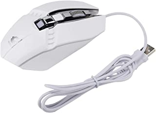 ASHATA Wired Gaming Mouse, Four-Color Breathing Backlight 1800DPI USB 4 Buttons Gaming Mechanical Ergonomic Mouse(White)
